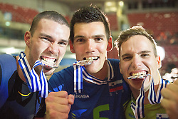 Alen Pajenk #2 of Slovenia, Alen Sket #5 of Slovenia and Jani Kovacic #13 of Slovenia celebrate at trophy ceremony after placed 2nd after volleyball match between National teams of Slovenia and France at Final match of 2015 CEV Volleyball European Championship - Men, on October 18, 2015 in Arena Armeec, Sofia, Bulgaria. Photo by Vid Ponikvar / Sportida