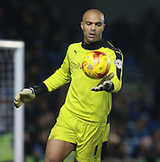 Wolverhampton Wanderers Goalkeeper Carl Ikeme during the Sky Bet Championship match between Brighton and Hove Albion and Wolverhampton Wanderers at the American Express Community Stadium, Brighton and Hove, England on 1 January 2016. Photo by Bennett Dean.