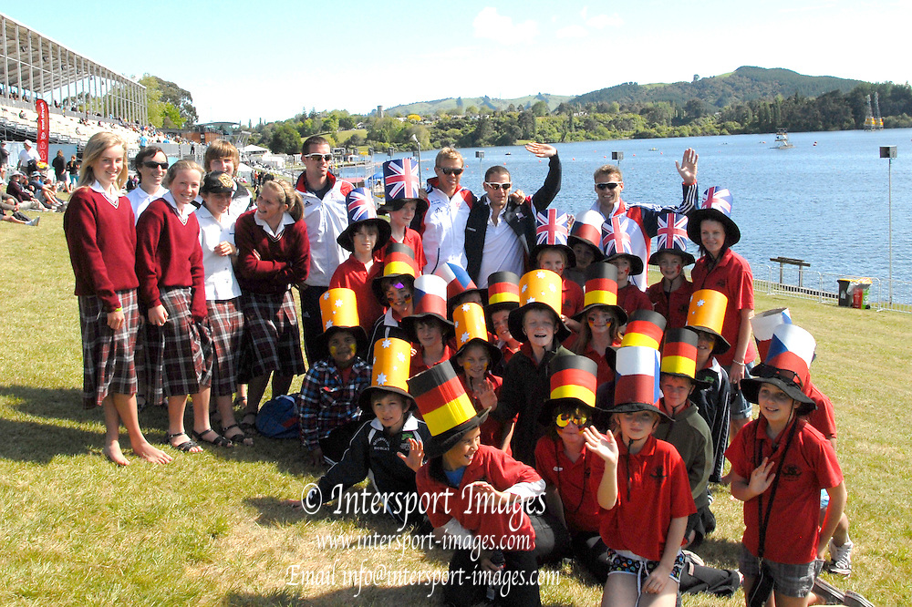 Hamilton, New Zealand, 2010  World Rowing Championships, Lake Karapiro Tuesday  02/11/2010   members of GB Rowing Team, with children from local schools,  wearing home-made hats of many Nations [Mandatory Credit Karon Phillips/Intersport Images]
