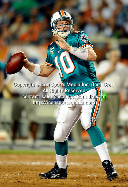 21 September 2009: Miami Dolphins quarterback Chad Pennington during the game against the Indianapolis Colts at Land Shark Stadium in Miami, Florida.