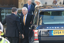 Westminster Abbey, London, March 14th 2016.  Her Majesty The Queen, Head of the Commonwealth, accompanied by The Duke of Edinburgh, The Duke and Duchess of Cambridge and Prince Harry attend the Commonwealth Service at Westminster Abbey on Commonwealth Day. PICTURED: Former British Prime Minister John Major arrives at Westminster Abbey.