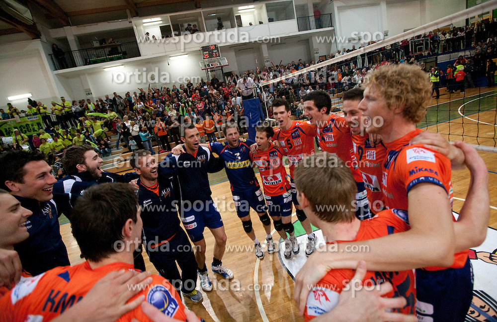 Players of ACH celebrate during volleyball match between ACH Volley Bled and UKO Kropa at final of Slovenian National Championships 2011, on April 27, 2011 in Arena SGTS Radovljica, Slovenia. ACH Volley defeated Kropa 3-0 and became Slovenian National Champion 2011. (Photo By Vid Ponikvar / Sportida.com)