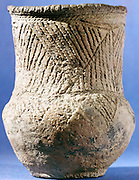 Beaker Folk: Late Neolithic/Early Bronze Age c4000 BC from temperate European zones. Distinctive bell-shaped beaker with stamped geometric decoration. British Museum, London