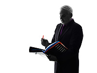 One Caucasian Senior Business Man filing files documents Silhouette White Background