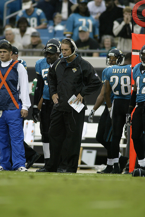 Head Coach Jack Del Rio of the Jacksonville Jaguars during their  28-23 victory over the Indianapolis Colts on 11/09/2003. ©JC Ridley/NFL Photos.