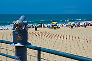Arlington West, Memorial, Santa Monica, Beach, California, Crosses, Ocean Waves, Sand, represents, American, military, personnel, who've lost their lives, in the US war, and occupation of, Iraq, Afghanistan