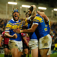 Kallum Watkins (C) of Leeds Rhinos celebrates scoring his teams 3rd Try against Hull FC with team mate Ashton Golding (L) during the Betfred Super League match at Emerald Headingley Stadium, Leeds<br /> Picture by Stephen Gaunt/Focus Images Ltd +447904 833202<br /> 08/03/2018
