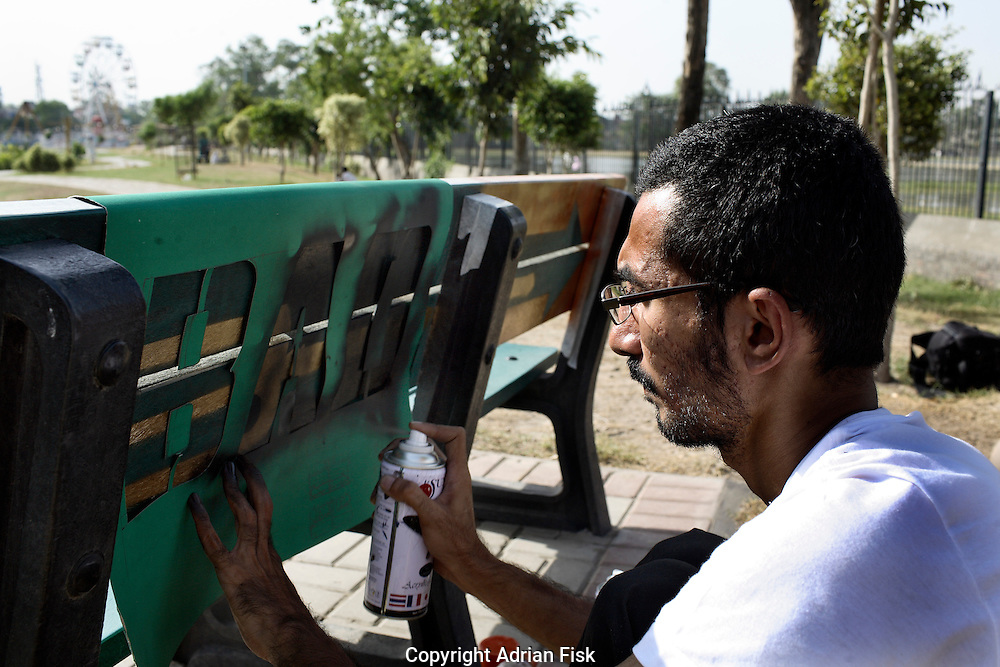 Celebrated young pakistani artist Asim Butt on a journey of political graffiti through Pakistan during the summer of 2009..Asim sprays 'Bad Idea' in lahore a piece about the lahore resolution of 1940, which laid the groundwork for the independence movement for Pakistan as a seperate Muslim state from India.