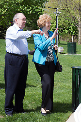 10 May 2014:  Retired Mayor and Mrs. Jesse Smart at 25th anniversary celebration of the Constitution Trail ceremony at Connie Link Amphitheater in Normal Illinois