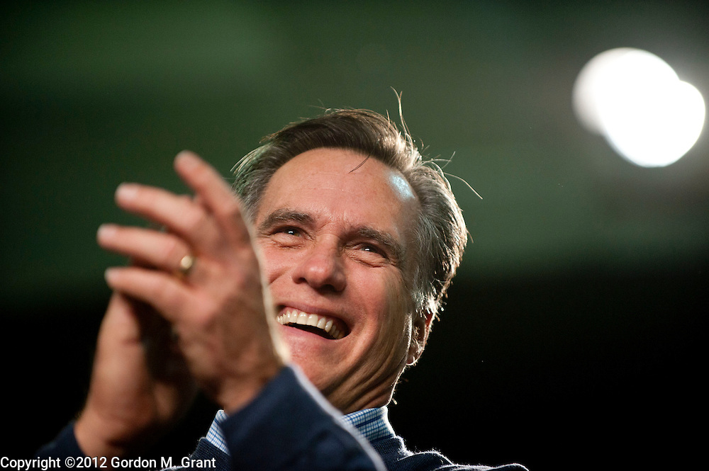 Derry, NH, Unites States - 1/7/12 - Mitt Romney during a campaign stop at The Pinkerton Academy in Derry, NH January 7, 2012, as he campaigns for the Republican nomination for President prior to the New Hampshire Primary.    (Photo by Gordon M. Grant)