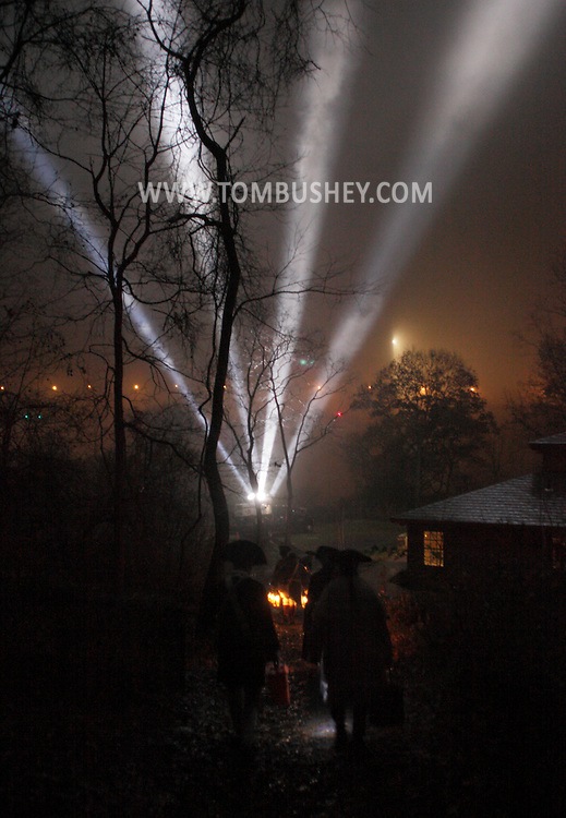 Fort Montgomery, NY - Spotlights at the Fort Mongtomery Historic site on Nov. 25, 2009.