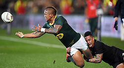 South Africa's Elton Jantjies, left, tackled by New Zealand's Aaron Smith in the Investic Championship rugby test match at QBE Stadium, Albany, Auckland New Zealand, Saturday, September 16, 2017. Credit:SNPA / Ross Setford** NO ARCHIVING**
