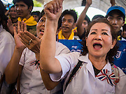01 SEPTEMBER 2013 - BANGKOK, THAILAND: Protesters cheer an anti-government speaker at a Siam Pitak rally in Lumpini Park. Siam Pitak is one of several groups organized around opposition to the government of Yingluck Shinawatra, the Prime Minister of Thailand and brother of deposed and exiled former Prime Minister Thaksin Shinawatra, the brother of Yingluck. The Siam Pitak protest has been ongoing in Lumpini Park for more than a month.      PHOTO BY JACK KURTZ