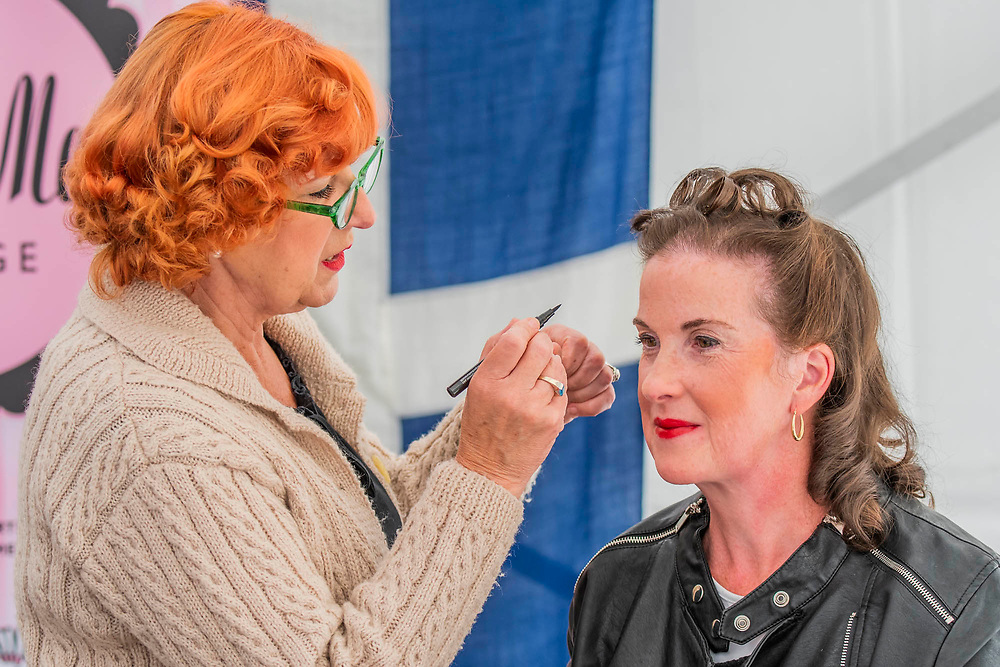 Period make up and hair is offered to visitors - Duxford Battle of Britain Air Show at the Imperial War Museum. Also commemorating the 50th anniversary of the 1969 Battle of Britain film. It runs on Saturday 21 & Sunday 22 September 2019