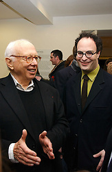 Left to right, artist ELLSWORYH KELLY and art dealer MATTHEW MARKS at an exhibition of leading artist Ellsworth Kelly at the Serpentine Gallery, Kensington Gardens, London followed by a dinner at the Riverside Cafe, London on 17th March 2006.<br />