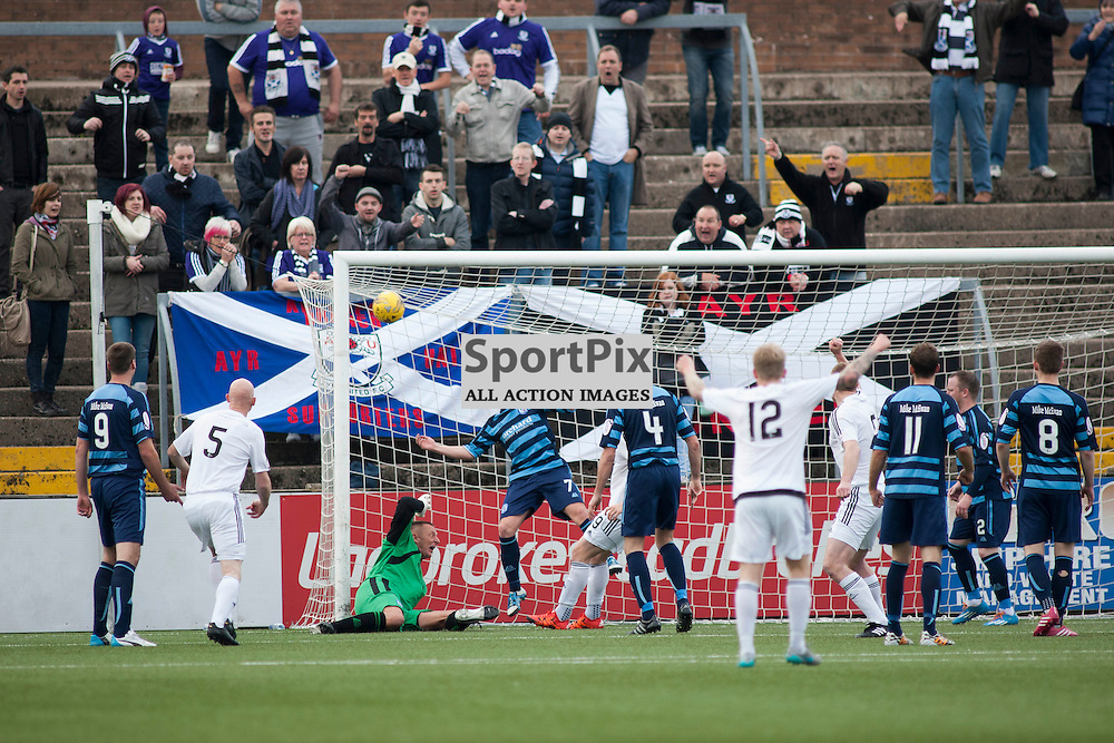 The final equalising goal for Ayr united was a comedy of errors by the Forfar defence, as the ball was finally headed across the line by Andrew Black (Forfar 7) in the Forfar Athletic v Ayr United Station Park, Forfar, 17 October 2015<br />