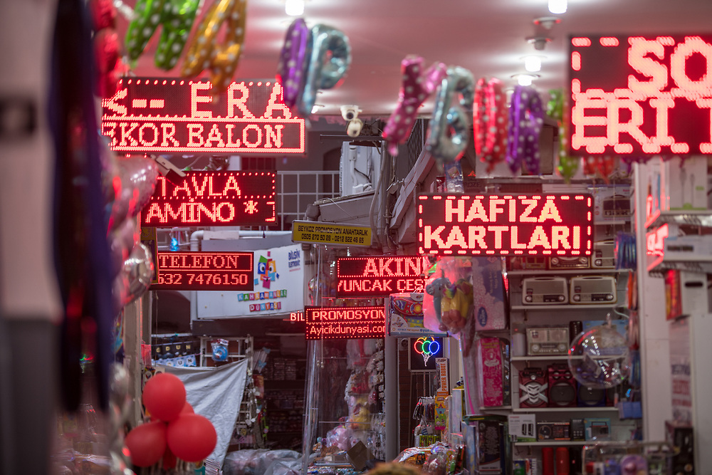 LED signs, advertising products, light up narrow passageway in store, Istanbul, Turkey