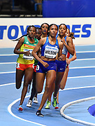 Ajee Wilson (USA) leads the field on the first lap of the Women's 800m she finished in silver medal position in a time of 1.58.99 during the final session of the IAAF World Indoor Championships at Arena Birmingham in Birmingham, United Kingdom on Saturday, Mar 2, 2018. (Steve Flynn/Image of Sport)