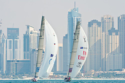 November 2010, Dubai, last eventof the Louis Vuitton Trophy series. Winner is Team New Zealand with Dean Barker on the helam against BMW Oracle with James Spithill on the helm. Aftre the Final Louis Vuitton anounced the coopertaion with the 34th America's Cup and the the the next Luois Vuitton Cup.