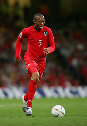 CARDIFF, WALES - Wednesday, September 8, 2004: Wales' Daniel Gabbidon in action against Northern Ireland during the Group Six World Cup Qualifier at the Millennium Stadium. (Pic by David Rawcliffe/Propaganda)