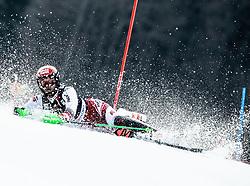 Fall of HIRSCHBUEHL Christian of Austria during the Audi FIS Alpine Ski World Cup Men's Slalom 58th Vitranc Cup 2019 on March 10, 2019 in Podkoren, Kranjska Gora, Slovenia. Photo by Matic Ritonja / Sportida
