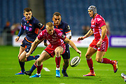 Eroni Sau (#14) of Edinburgh Rugby and Johnny McNicholl (#15) of Scarlets try to control the ball during the Guinness Pro 14 2019_20 match between Edinburgh Rugby and Scarlets at BT Murrayfield Stadium, Edinburgh, Scotland on 26 October 2019.