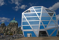 View of Humboldt Box the new exhibition space for Humboldt-Forum and building of Berlin castle or Schloss, Unter den Linden Mitte Berlin Germany