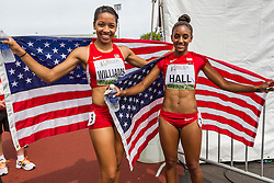 Women's 100 meter hurdles, Kendell Williams wins, DIor Hall 2nd