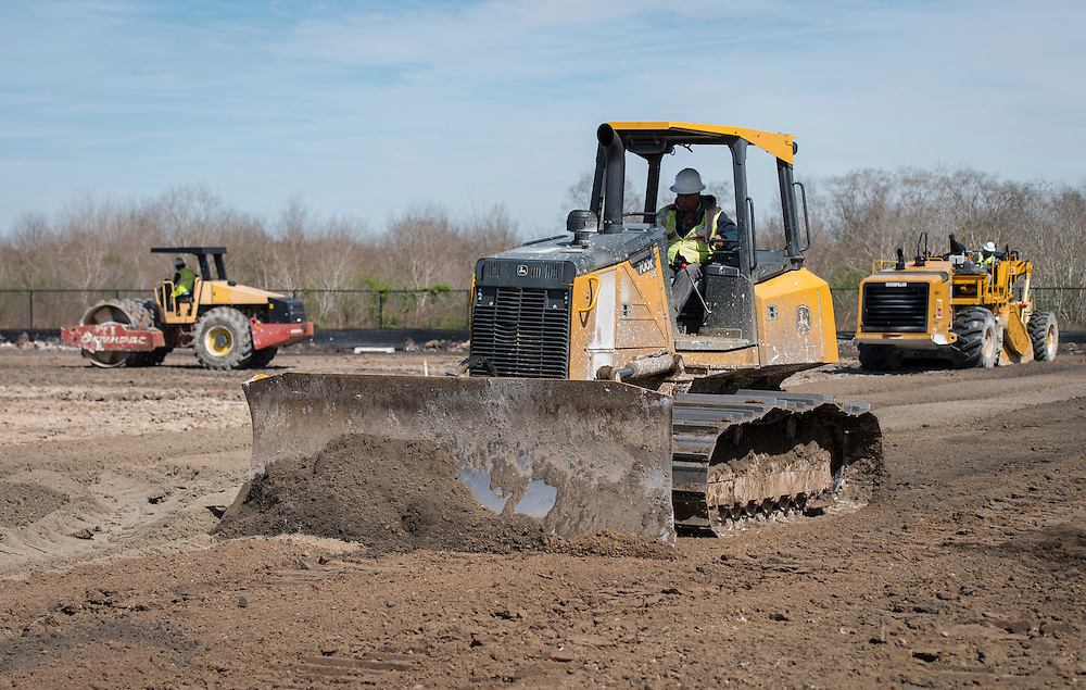 Construction crews work on the site of the new Sterling High School, March 6, 2015.
