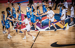 Players shaking hands prior to the basketball match between Women National teams of Italy and Slovenia in Group phase of Women's Eurobasket 2019, on June 30, 2019 in Sports Center Cair, Nis, Serbia. Photo by Vid Ponikvar / Sportida