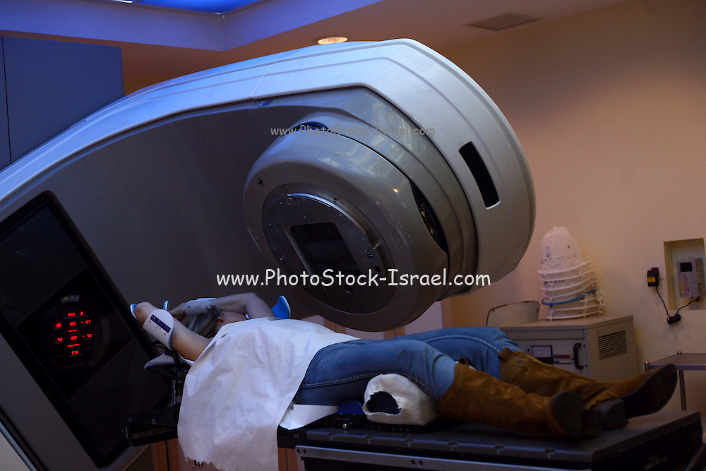 Israel, Tel Hashomer, A patient is treated by radiation due to breast cancer at the Chaim Sheba medical center oncology ward