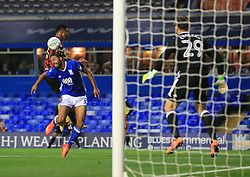 Ryan Shotton of Birmingham City heads away from Lys Mousset of Bournemouth - Mandatory by-line: Paul Roberts/JMP - 22/08/2017 - FOOTBALL - St Andrew's Stadium - Birmingham, England - Birmingham City v Bournemouth - Carabao Cup