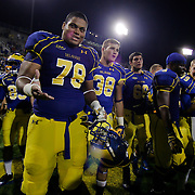 Delaware Offensive Tackle Erle Ladson #78 walks off the field after a week 1 win over West Chester...Delaware will return home Sept. 8, 2012 at 3:30pm for a showdown with interstate Rival Delaware State in the Route 1 Rivalry Bowl at Delaware Stadium.