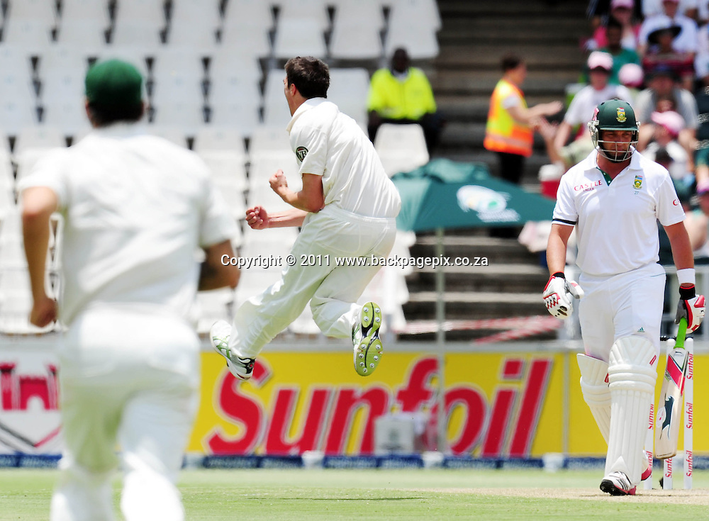 Patrick Cummins of Australia celebrates the wicket of Jacques Kallis of South Africa <br /> &copy; Barry Aldworth/Backpagepix
