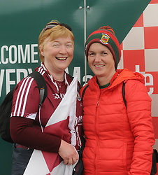 Galway supporter Ann Kyne from Clonbur with Rianna Kelly Hollymount on their way to  McHale park on sunday last.<br />Pic Conor McKeown