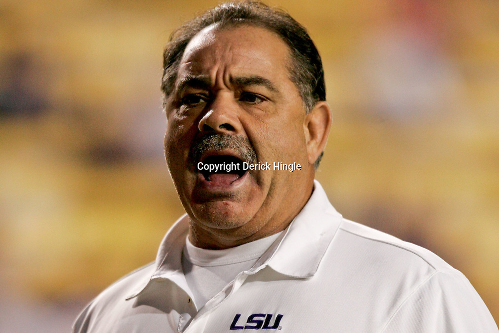 Nov 14, 2009; Baton Rouge, LA, USA;  LSU Tigers defensive coordinator John Chavis during warm ups prior to kickoff against the Louisiana Tech Bulldogs at Tiger Stadium.  Mandatory Credit: Derick E. Hingle-US PRESSWIRE
