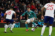 Johannes Eggestein of Germany U21's looks for a way past Jake Clarke-Salter of England U21's during the U21 International match between England and Germany at the Vitality Stadium, Bournemouth, England on 26 March 2019.