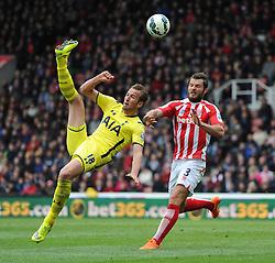 Tottenham Hotspur's Harry Kane attempts an over head kick - Photo mandatory by-line: Dougie Allward/JMP - Mobile: 07966 386802 - 09/05/2015 - SPORT - Football - Stoke - Britannia Stadium<br />  - Stoke v Tottenham Hotspur - Barclays Premier League