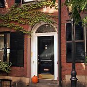 Beacon Hill brownstone residences on West Cedar Streetl Boston MA