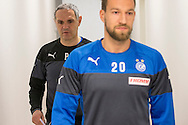 Head coach Pierluigi Tami (back) and captain Daniel Pavlovic on their way to a press conference of Super League (National League A) soccer team Grasshopper Club Zuerich (GCZ) held at the GC Campus in Niederhalsi, Switzerland, Friday, Feb. 6, 2015. (Photo by Patrick B. Kraemer / MAGICPBK)