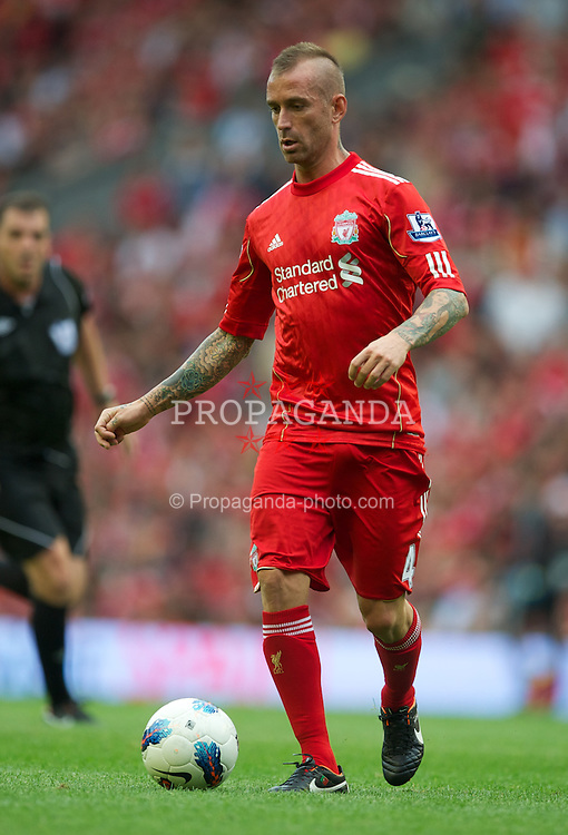 LIVERPOOL, ENGLAND - Saturday, August 13, 2011: Liverpool's Raul Meireles, with a Mohican hair cut, in action against Sunderland during the Premiership match at Anfield. (Pic by David Rawcliffe/Propaganda)