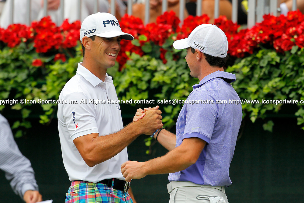 September 14, 2014: Billy Horschel greets Rory McIlroy on tee one in the final round of the FedEx Cup - The Tour Championship at East Lake Golf Club in Atlanta, Georgia.