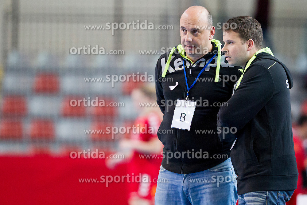 Salvador Kranjcic and Uros Bregar, head coach of Slovenia during handball match between Women National Teams of Slovenia and Montenegro in 2016 Women's European Championship Qualification, on October 11, 2015 in Arena Kodeljevo, Ljubljana, Slovenia. Photo by Urban Urbanc / Sportida