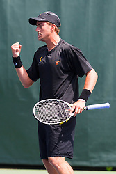 May 24, 2011; Stanford, CA, USA;  Southern California Trojans number 1 singles player Steve Johnson celebrates after winning a point against Virginia Cavaliers number 1 singles player Michael Shabaz (not pictured) during the finals of the men's team 2011 NCAA Tennis Championships at the Taube Tennis Center. USC defeated UVA 4-3.