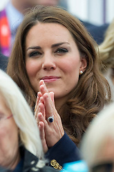 Duchess of Cambridge watching Zara Phillips competing  at  the show jumping event at the London 2012 Olympics , Tuesday 31st July 2012 Photo by: i-Images