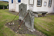 Supported Tombstones in the churchyard at Traquair Church, Kirkhouse near Innerleithen in the Scottish Borders. built in 1778
