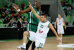Henry Domercant of Unics Kazan and Jan Mocnik of Union Olimpija during basketball match between KK Union Olimpija and Unics Kazan (RUS) of 10th Round in Group D of Regular season of Euroleague 2011/2012 on December 21, 2011, in Arena Stozice, Ljubljana, Slovenia. Unics Kazan defeated Union Olimpija 76-63. (Photo by Vid Ponikvar / Sportida)