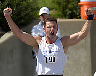 Germany's Lars Albert reacts after his throw of 16.02 meters in the shot up in the decathlon, at the Nike Combined Events Challenge at the R.V. Christian Track Complex on the campus of Kansas State University in Manhattan, Kansas, August 5, 2006.
