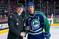 REGINA, SK - MAY 23: Glenn Gawdin #15 of the Swift Current Broncos accepts the third star of the game against the Regina Pats at the Brandt Centre on May 23, 2018 in Regina, Canada. (Photo by Marissa Baecker/CHL Images)