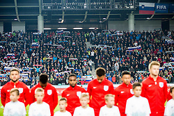 Supporters of Slovenia listening to the Nationak anthem during football match between National teams of Slovenia and England in Round #3 of FIFA World Cup Russia 2018 Qualifier Group F, on October 11, 2016 in SRC Stozice, Ljubljana, Slovenia. Photo by Vid Ponikvar / Sportida